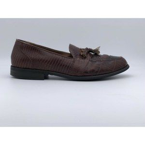 Stacy Adams Brown Snakeskin Tassel Loafers Shoes